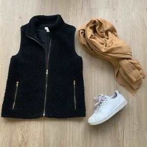 J. Crew Sherpa / Teddy Vest Black Gold Accents